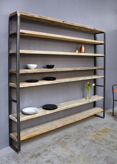 Bookshelves – Shelf Lumber / Iron Sinem – a unique product by FraaiBe … - DIY Furniture Ideas Industrial Furniture, Wood Furniture, Industrial Pipe, Furniture Ideas, Bookshelves, Bookcase, Regal Design, Moving House, Country Style Homes