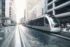 Light Rail in Houston. Water fountain : one block long