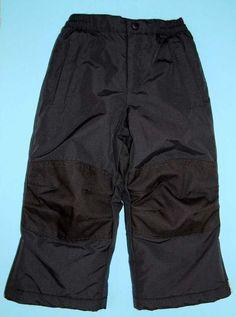 Lands End Snow Pants 4 Black Lined Reinforced Knees Seat Waterproof Boys Girls #LandsEnd #SkiPants