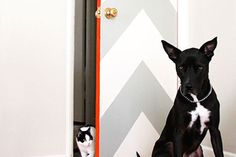 Update your doors with a neutral chevron paint job.