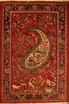 ♥ Beautiful Persian rug. Vibrant red with paisley and animal motifs.