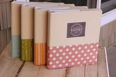Recipe Notebook Cover Pattern with sewn book tabs! $3.25