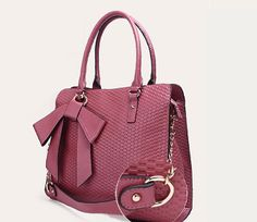 Leather Tote with Bow in Pink