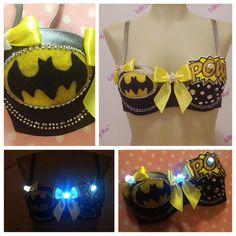 Dark Knight Comic hero Batman custom bra with LED by lilkittyko, $85.00