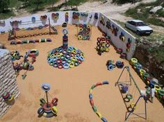 Backyard Diy Playground Old Tires 48 Ideas For 2019 Outdoor Play Spaces, Kids Outdoor Play, Kids Play Area, Backyard For Kids, Diy For Kids, Kids Room, Diy Playground, Playground Design, Children Playground