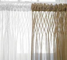 Smocked Drape #potterybarn, love them!!!!  Did not want curtains in the room, but these are so light and airy, they just add a homey feel that does not distract from the beauty outside!