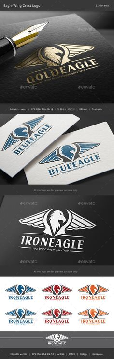 Eagle Wing Crest Logo — Vector EPS #gold #emblem • Available here → https://graphicriver.net/item/eagle-wing-crest-logo/8794335?ref=pxcr