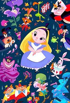 ✶ Disney WonderGround Gallery Alice in Wonderland Postcard by Bill Robinson ☕️★