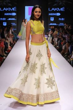 cute lime choli with a bubbly lehenga