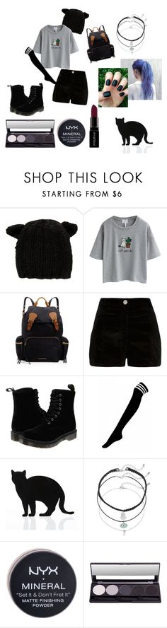 """""""matte cat."""" by milkdust ❤ liked on Polyvore featuring Eugenia Kim, WithChic, Burberry, River Island, Dr. Martens, 157+173 designers, Mudd, Smashbox, NYX and darkcasual"""