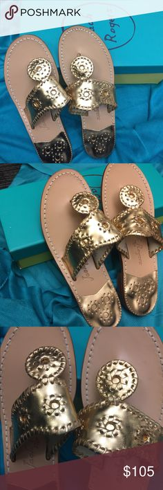 Jack Rogers Hamptons Flat Color Gold Size 7.5M Brand new pair of Jacks, never worn! I love these shoes, they are just a little too narrow for my foot. They are listed as a size 7.5 but may be better for someone with a 7. Jack Rogers Shoes Sandals