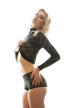 Black Lace TurtleNeck and High Waist Panty by teddysunderthings, $98.00