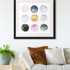 Nine watercolor circle shapes in blue, pink, and gold. Dollop I Watercolor Art by Grace Popp from Great BIG Canvas. : Nine watercolor circle shapes in blue, pink, and gold. Dollop I Watercolor Art by Grace Popp from Great BIG Canvas. Watercolor Circles, Watercolor Artwork, Big Canvas, Canvas Prints, Scandinavian Living, Scandinavian Design, Big Wall Art, Photo To Art, Square Art