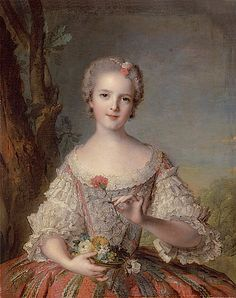 Princess Louise-Marie of France (1737–1787), by Jean-Marc Nattier (1685-1766), 1748. Known as Madame Louise, she was daughter of Louis XV, shown here in a court dress and holding a basket of flowers. Grand cabinet du Dauphin , Château de Versailles.