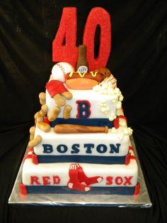 baseball 40th birthday | 40th Birthday Boston Red Sox cake