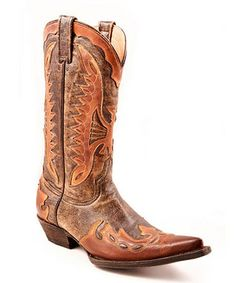 Take a look at this Brown Crackle Eagle Overlay Cowboy Boot - Men by Stetson on #zulily today!