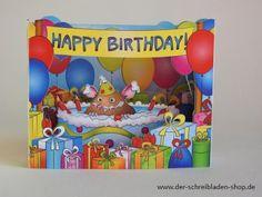 die fröhliche Geburtstagskarte ist in 3D und aufgestellt ein Hingucker..... #3DKarten #Glückwunschkarten #Papeterie #Nürnberg  Der Schreibladen, Schreibwaren & Lotto-Annahmestelle – Google+