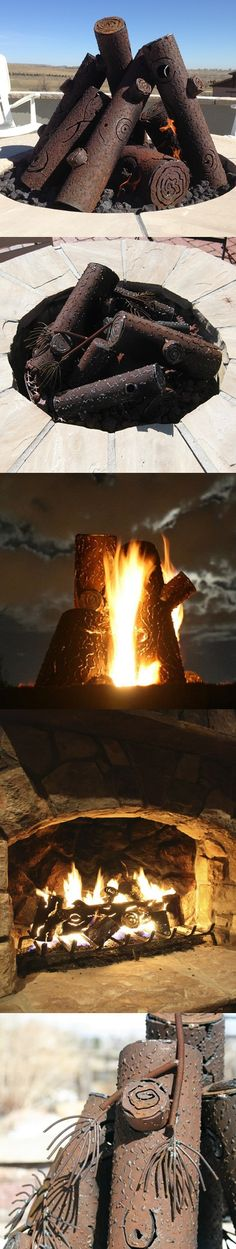 Hand-crafted steel log sets absorb and radiate heat in your fire pit/outdoor fireplace. Natural age and rust brings about a more natural look over time. Plus, they are beautiful pieces of craftsmanship in their own right!