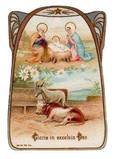 Gloria in Excelsis Deo Vintage Die Cut Holy Card M H w Co