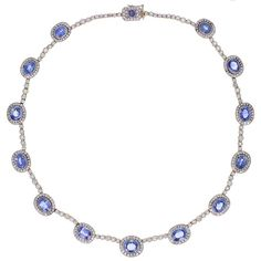 Fabergé Sapphire Diamond Gold Necklace | From a unique collection of vintage link necklaces at https://www.1stdibs.com/jewelry/necklaces/link-necklaces/