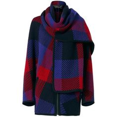 Barbara Bui Women's Check Zip Scarf Poncho ($1,750) ❤ liked on Polyvore featuring outerwear, barbara bui and long sleeve poncho