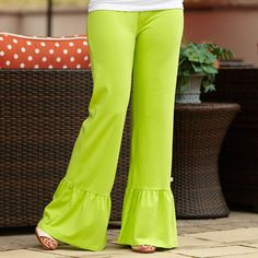 Ladies Dark Lime Ruffle Pants – Lolly Wolly Doodle