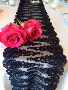 New Wedding Table Runner Black Wide by LovelyLaceDesigns Wedding Runners, Lace Table Runners, Wedding Tables, Wedding Lace, Our Wedding, Dream Wedding, White Weddings, Lace Weddings, Black Lace Table
