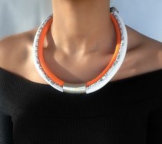 Orange necklace necklace for woman by VChristinaCollection