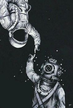 """""""Astronaut and Diver"""" Art Prints by Tumblr Wallpaper, Galaxy Wallpaper, Phone Backgrounds, Wallpaper Backgrounds, Iphone Whatsapp, Astronaut Drawing, Hipster Vintage, Iphone Wallpaper Vintage Hipster, Badass Wallpaper Iphone"""