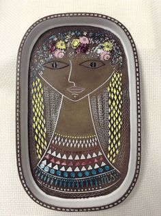 "Upsala Ekeby Mari Simmulson Beata 13"" X 8"" Platter Tray Art Pottery Sweden | eBay"
