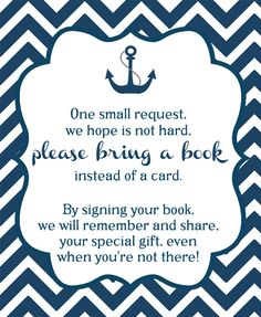 Nautical Navy Chevron Bring a Book Insert - Encourage guests to bring books to your boy baby shower with this navy nautical themed inserts for Baby Showers are a perfect way to personalize your growing baby library of books.