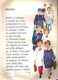 Un articolo di Mianna Nonostante siano passati tanti anni, non posso dimenticare quei primi giorni d'autunno che precedevano la riapertu... Learn To Speak Italian, Rhyming Activities, Vintage School, Learn Korean, Italian Language, Graphic Quotes, Learning Italian, Children Images, Vintage Children's Books