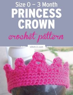 This Baby Princess Crown crochet pattern is awesome for creating these adorable photo prop and highlighting that little princess in your life. This crown is quick to make and fits 0-3-month-old babies. This princess crown is worked in continuous rounds. #crochet #crochetlove #crochetlife #crochetaddict #crochetpattern #crochetinspiration #crochetgoodness #ilovecrochet #crochetgifts #crochet365 #addictedtocrochet #yarnaddict #yarnlove