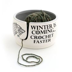 Game of Thrones CROCHET Yarn Bowl - Winter is Coming Grey Inside