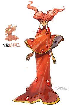 Pokemon gijinka 218. 219. Slugma Magcargo