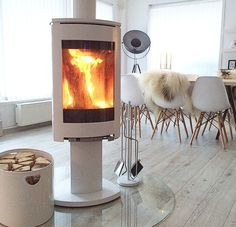 This is beautiful! #fire #cosy #white #logburner #modern