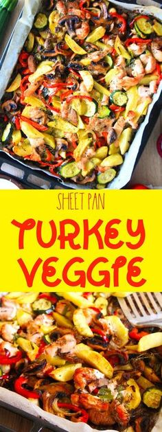 SHEET PAN TURKEY VEGGIE BAKE - Make a healthy, delicious meal in no time with this simple one pan turkey veggie bake! Perfect dinner for busy people! #turkey #veggie #turkeyrecipes #sheetpanrecipes