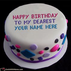Free Design Happy Birthday Cake With Name Photo Editor On Best Online Generator And Send Cakes Editing Options