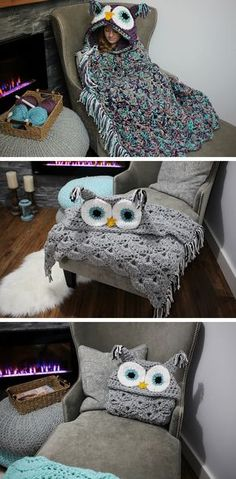 Turn into a bird with this charming DIY knitted owl blanket.