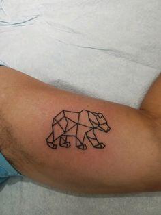 Fun geometric bear by @alicewhitetattoo 🐻 #beartattoo #tattoo #samedayappointment #local #capecod #ptown Alice White, Geometric Bear, Creative Studio, White Ink, Apparel Design, New Tattoos, Original Artwork, Fun, Fin Fun