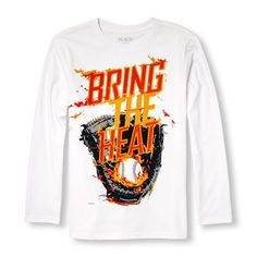 s Boys Long Sleeve Neon 'Bring The Heat' Baseball Graphic Tee - White T-Shirt - The Children's Place