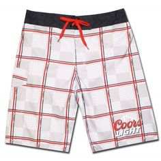 e7bf43e6f1 Coors Light Board Shorts : Grey Checkered | Officially Licensed Coors Swimming  Trunks