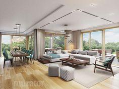 Salon w projekcie - Nowe możliwości - Murator Interior Design Inspiration, Home Interior Design, Outdoor Furniture Sets, Outdoor Decor, Patio, Curtains, Living Room, House, Home Decor