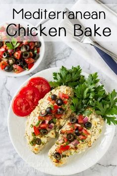 Low Carb Mediterranean Chicken bake made in one pan is an easy family recipe to make for the whole family #dizzybusyandhungry #lowcarb #chicken #mediterraneandiet #onepan Mediterranean Chicken Bake, Easy Mediterranean Recipes, Easy Mediterranean Diet Recipes, Mediterranean Dishes, Greek Recipes, Low Carb Recipes, Cooking Recipes, Healthy Recipes, Recipes With Feta