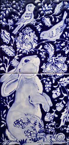 Blue & White Tile Mural with Bunny Rabbit & Birds by Tuzi Williams, copyrighted