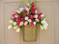 Spring Wreath  Easter Wreath  Tulip Wreath  by AWorkofHeartSA, $55.00 - So springy!