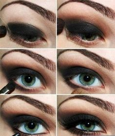 Makeup Tips : Black Smokey Eye Makeup Tips With Pictures For Blue Eyes Eye Makeup Tips Are Available with Pictures Zombie Makeup Tips. Makeup Tips For Brown Eyes. How To Put On Eyeshadow. Black Eye Makeup, Love Makeup, Makeup Looks, Hair Makeup, Eyeshadow Makeup, Amazing Makeup, Eyeshadow Tips, Makeup Brushes, Bride Makeup