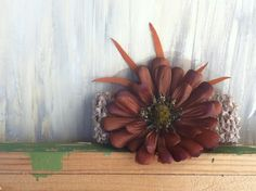 Brown Silk Flower with Orange Dried Leaves on by nickelbugdesigns, $6.25