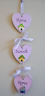 Home Sweet Home triple heart painted plaque