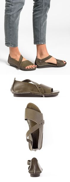$315.00 | Trippen Marlene Sandal in Smog | Trippen shoes are exceptional in design and committed to environmentally conscious production. Made from vegetable tanned leather and rubber soles for comfort. The sandal is perfect for spring and summer. Sold online and in-store in Workshop in Santa Fe, New Mexico as the largest collection in the USA.
